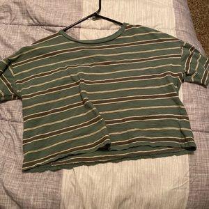 Green striped tee shirt